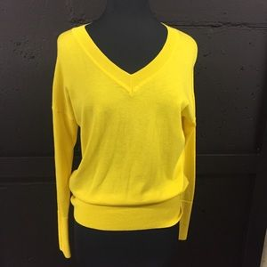 Cabi canary yellow v-neck with tie back